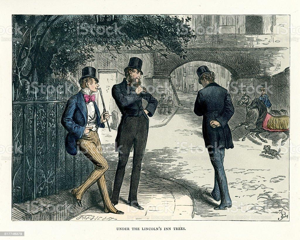 Bleak House - Under the Lincoln's Inn trees vector art illustration