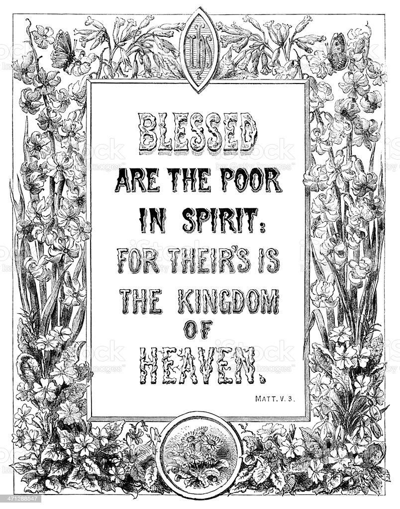 Blessed Are The Poor In Spirit (Victorian religious text) royalty-free stock vector art