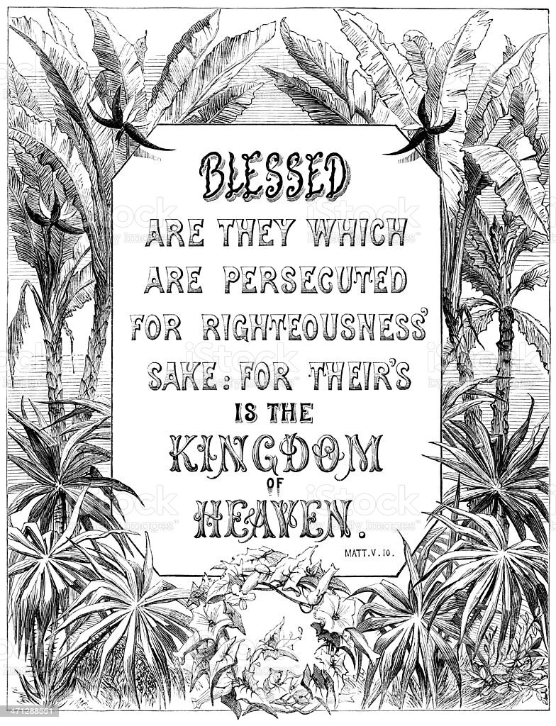 Blessed - They Which Are Persecuted (Victorian religious text) royalty-free stock vector art