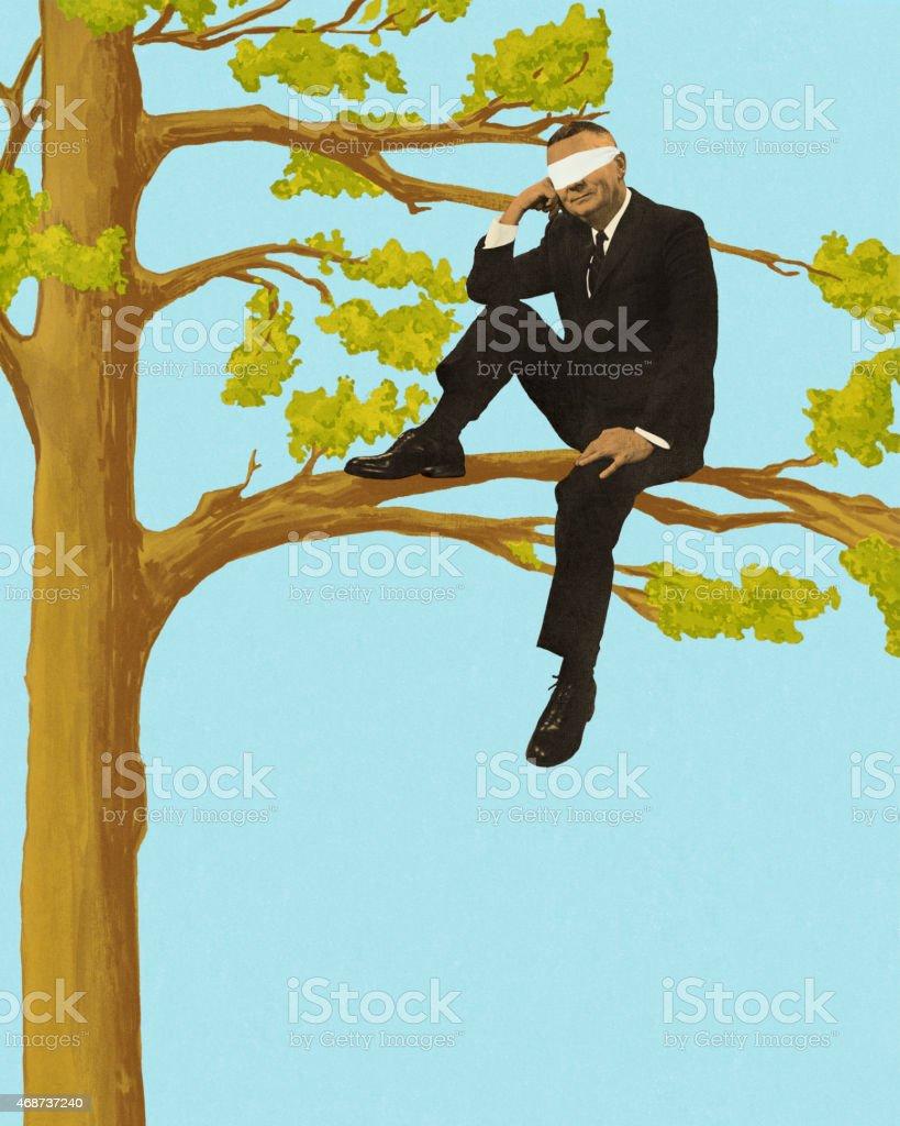 Blindfolded Businessman Sitting in a Tree vector art illustration