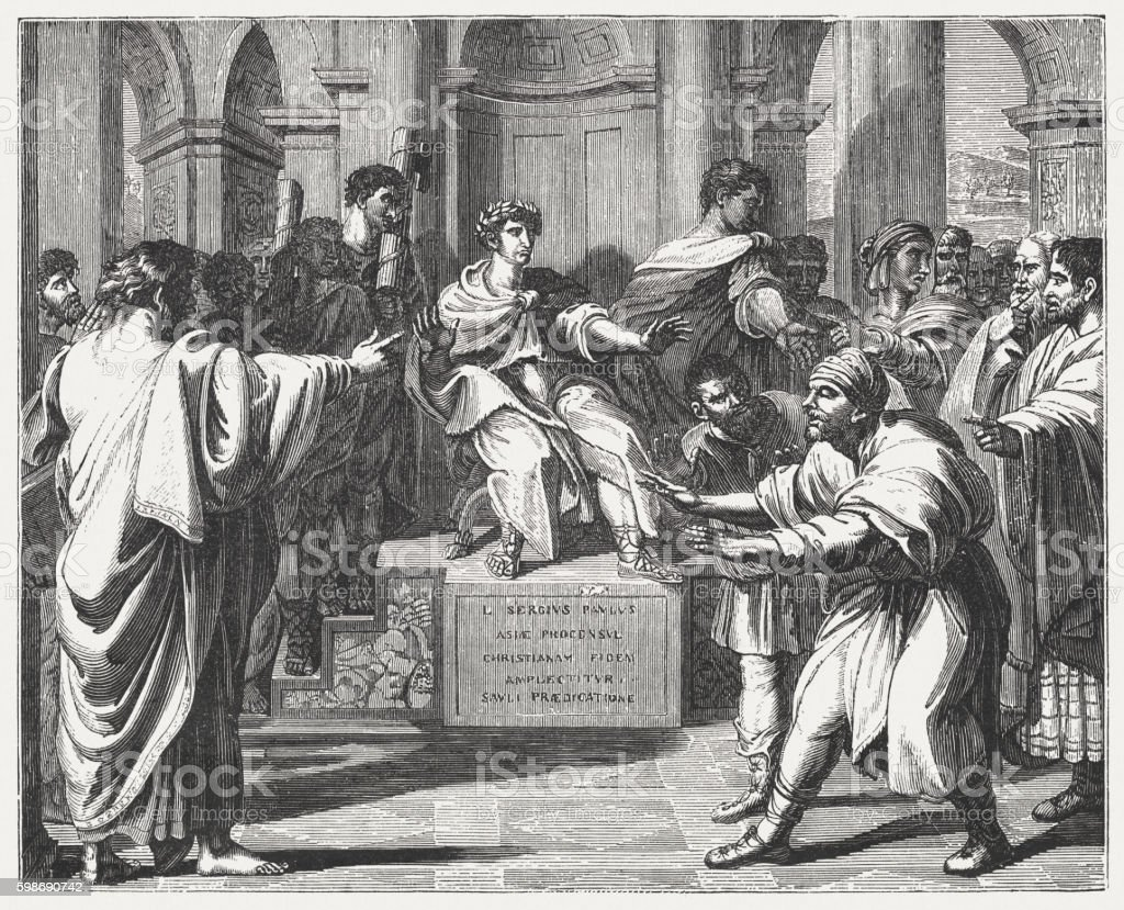 Blindness of Elymas (Acts 13), wood engraving after Rapheal, 1855 vector art illustration