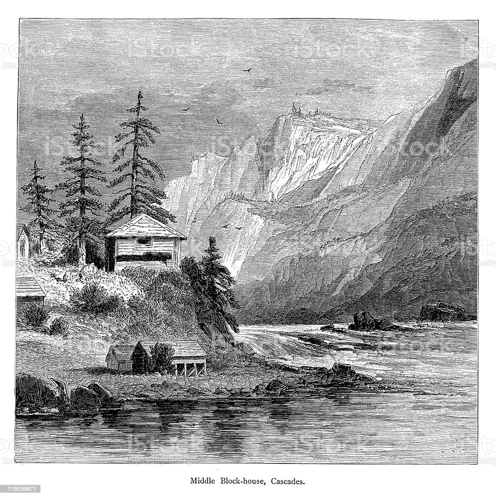 Blockhouse in the Cascades, USA | Historic American Illustrations royalty-free stock vector art