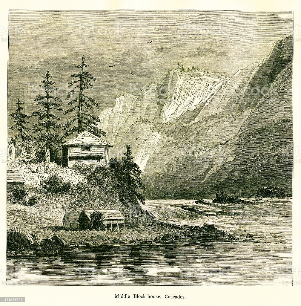 Blockhouse in the Cascades, USA, wood engraving (1872) royalty-free stock vector art