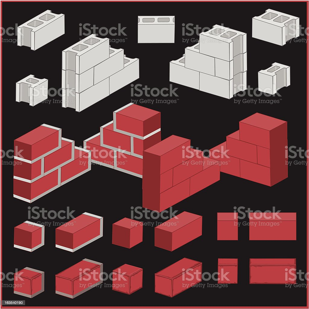 3D Blocks and Bricks vector art illustration