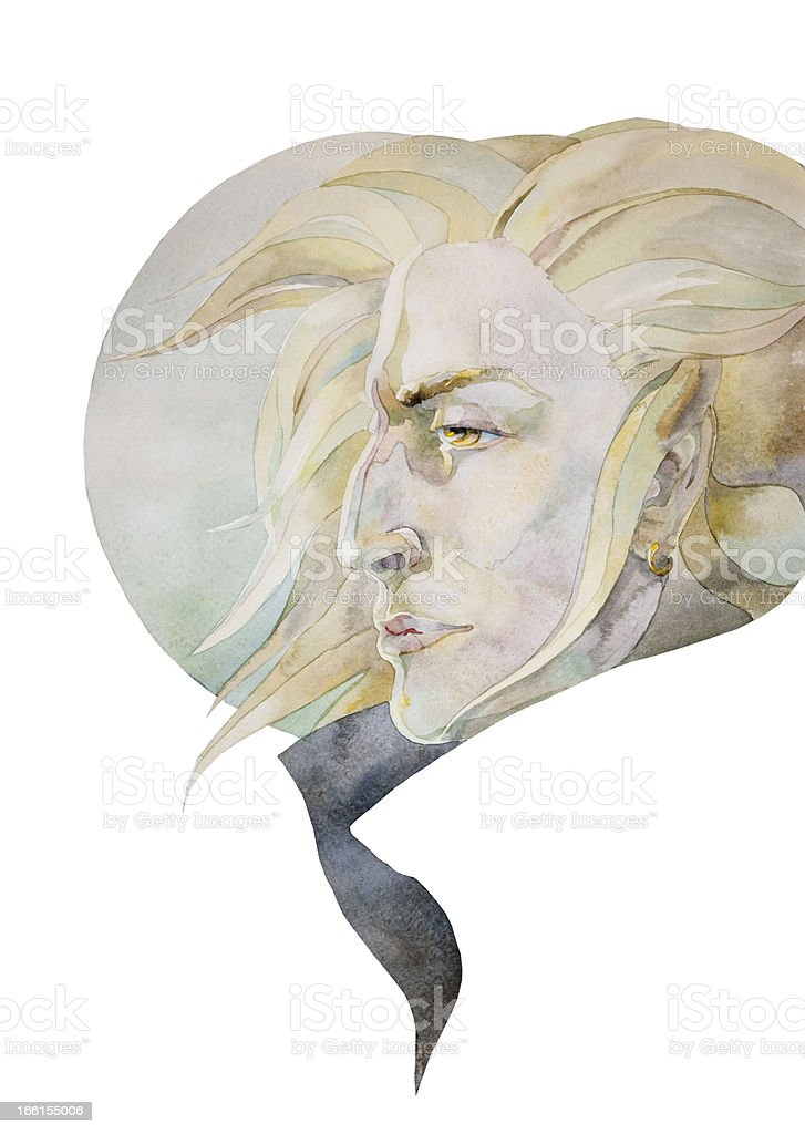 blond man with a moon royalty-free stock vector art