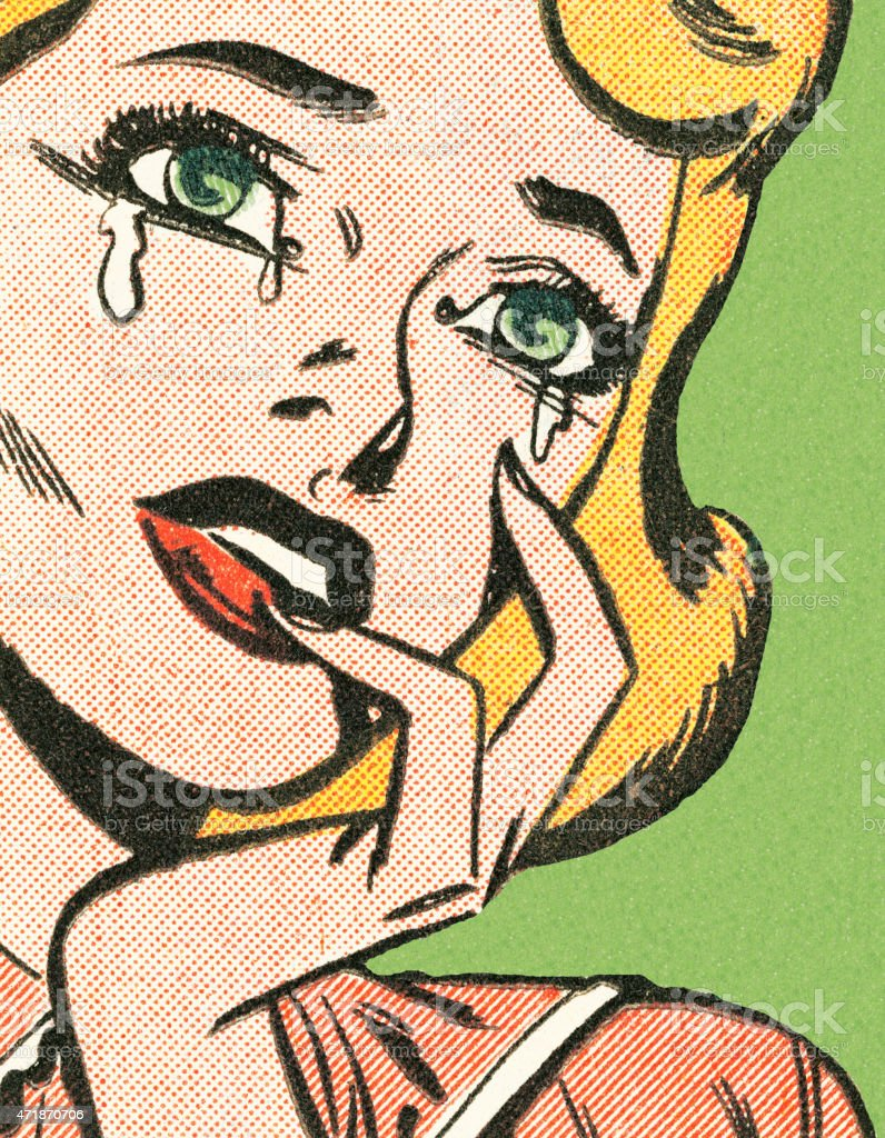 Blond woman crying vector art illustration