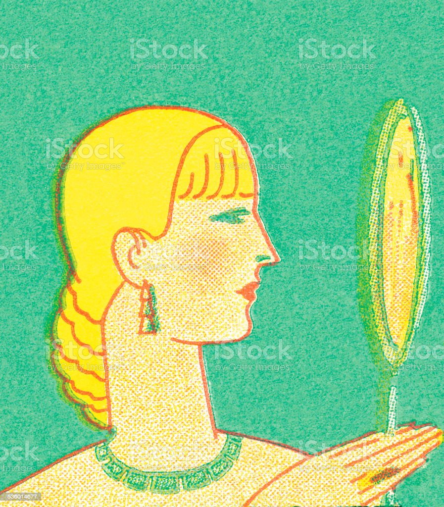 Blond woman looking in hand mirror vector art illustration