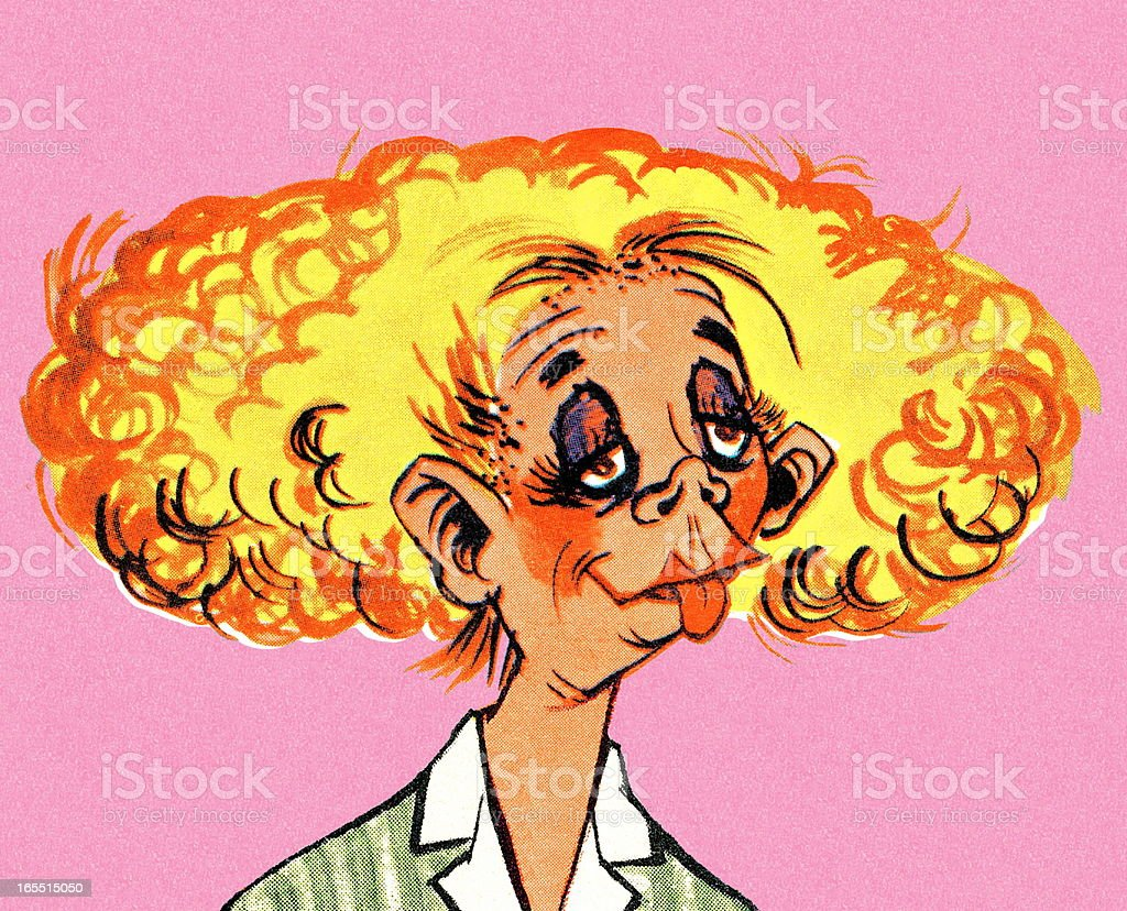 Blond Woman with Curly Hair royalty-free stock vector art