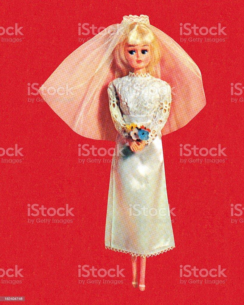 Blonde Fashion Doll Bride vector art illustration