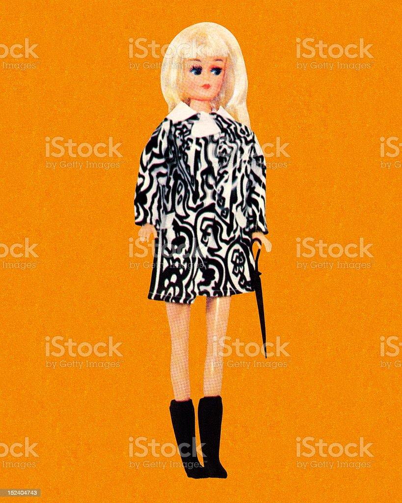 Blonde Fashion Doll Wearing Miniskirt vector art illustration