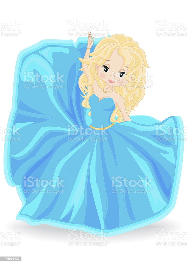 blonde girl in blue evening dress royalty-free stock vector art