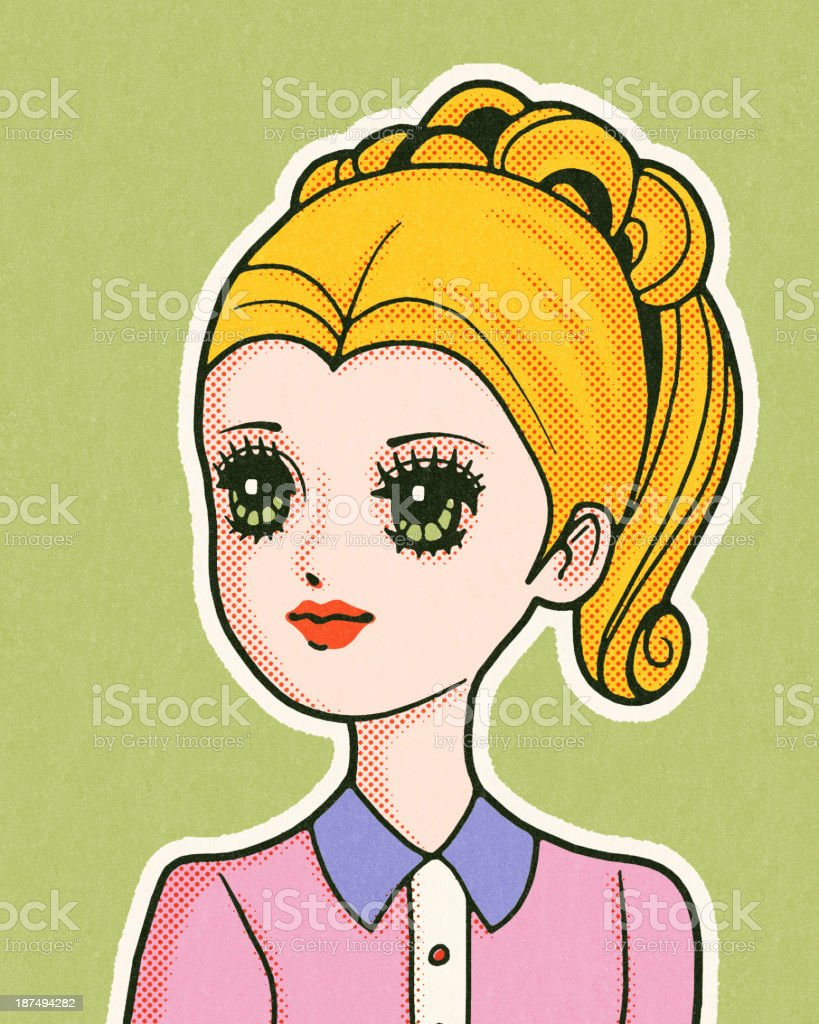 Blonde Girl With Big Eyes royalty-free stock vector art