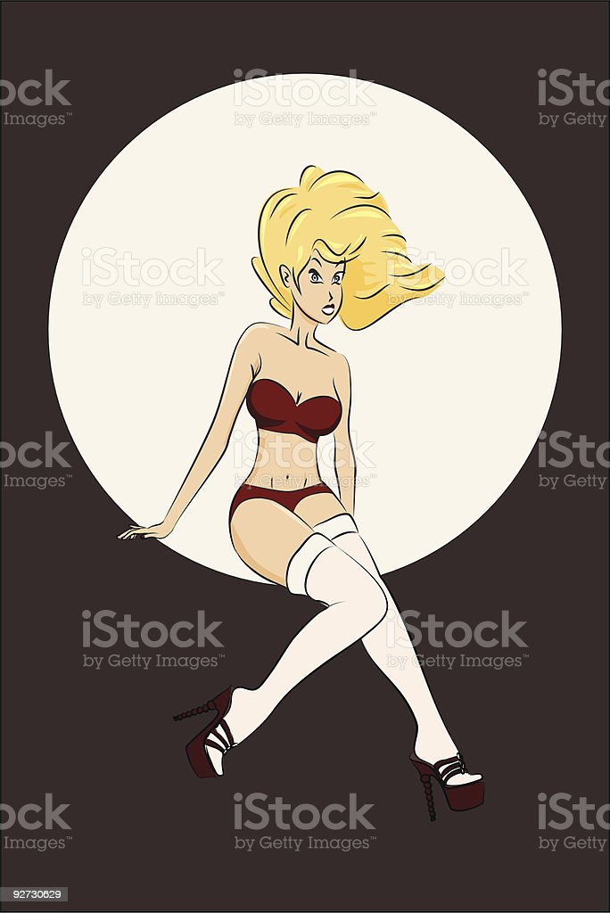 Blonde Pin-Up #2 royalty-free stock vector art