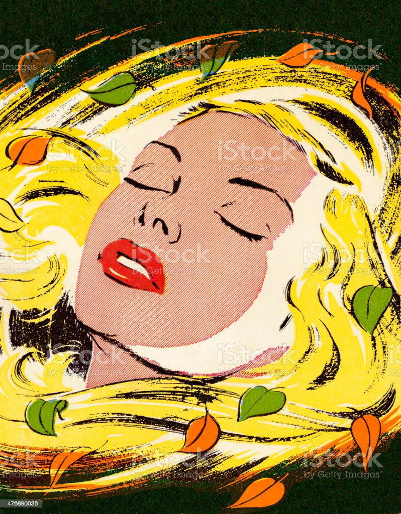 Blonde Woman With Her Eyes Closed vector art illustration