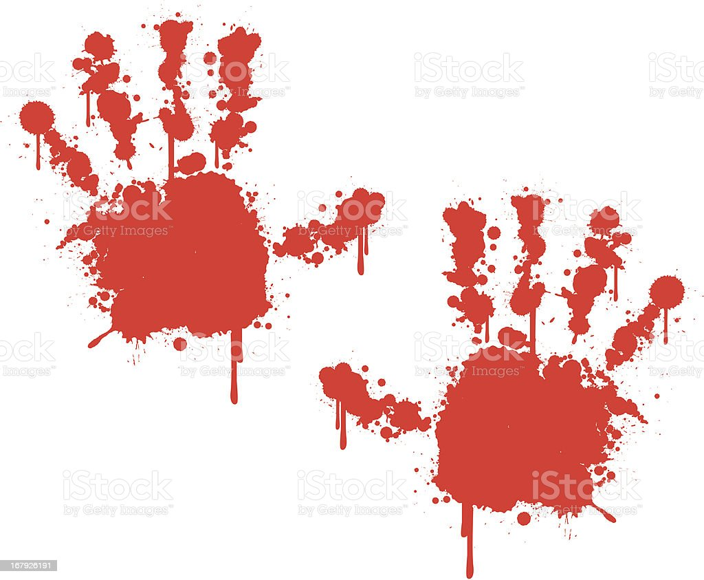 bloody hands vector art illustration