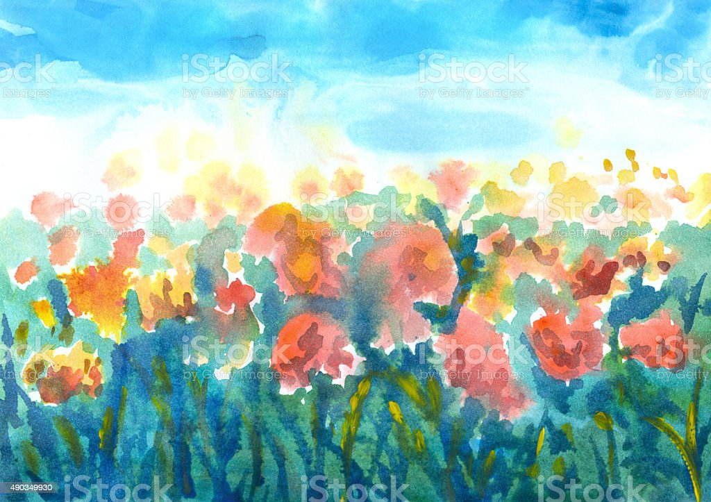 blooming field of tulips, watercolor painting vector art illustration