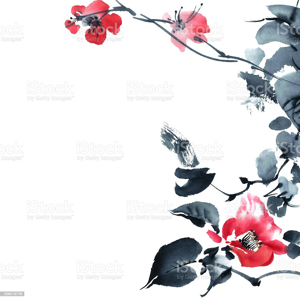 Blossom tree. Flowers illustration.. vector art illustration