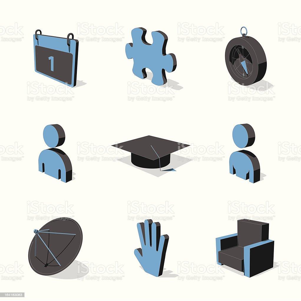 blue 3D icon set 05 royalty-free stock vector art