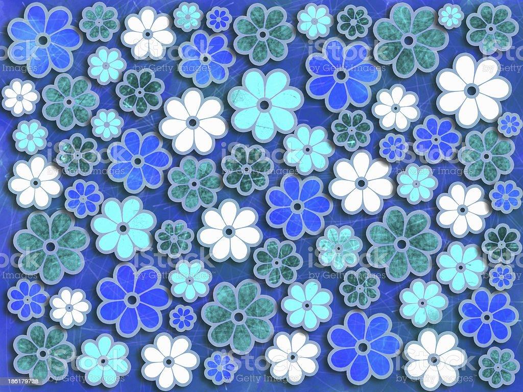 Blue and Green Flower Art Pattern vector art illustration