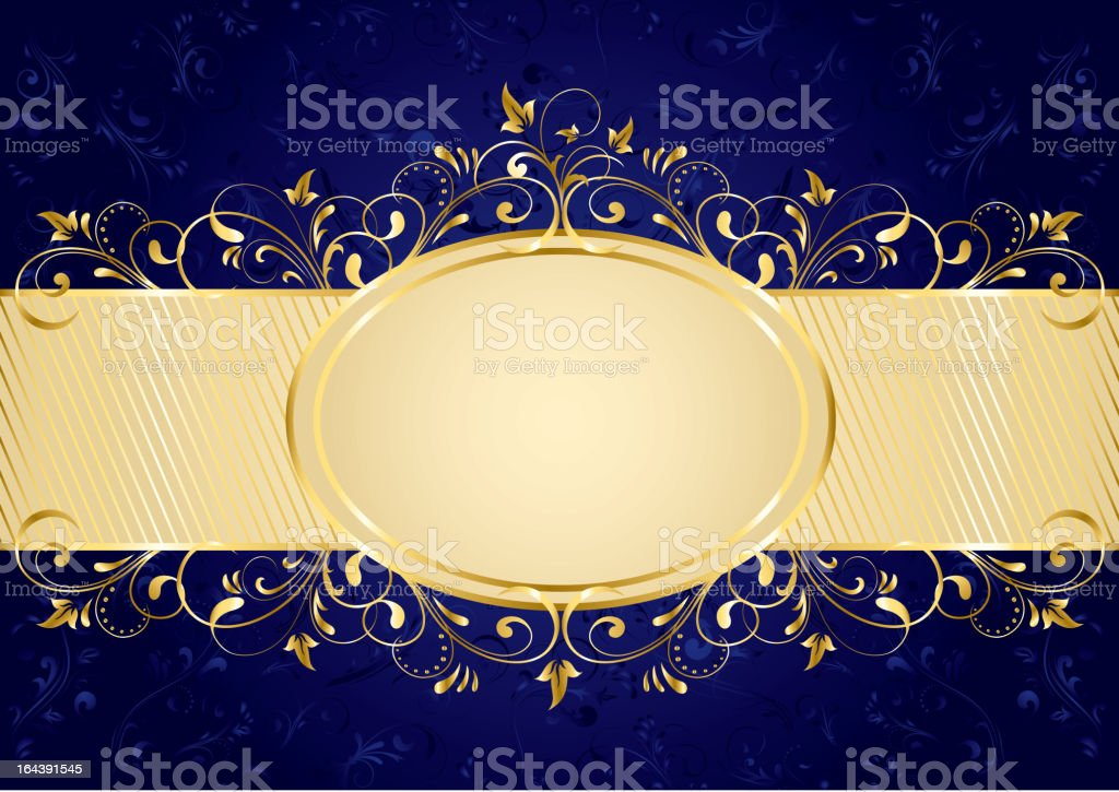 Blue background with golden frame royalty-free stock vector art