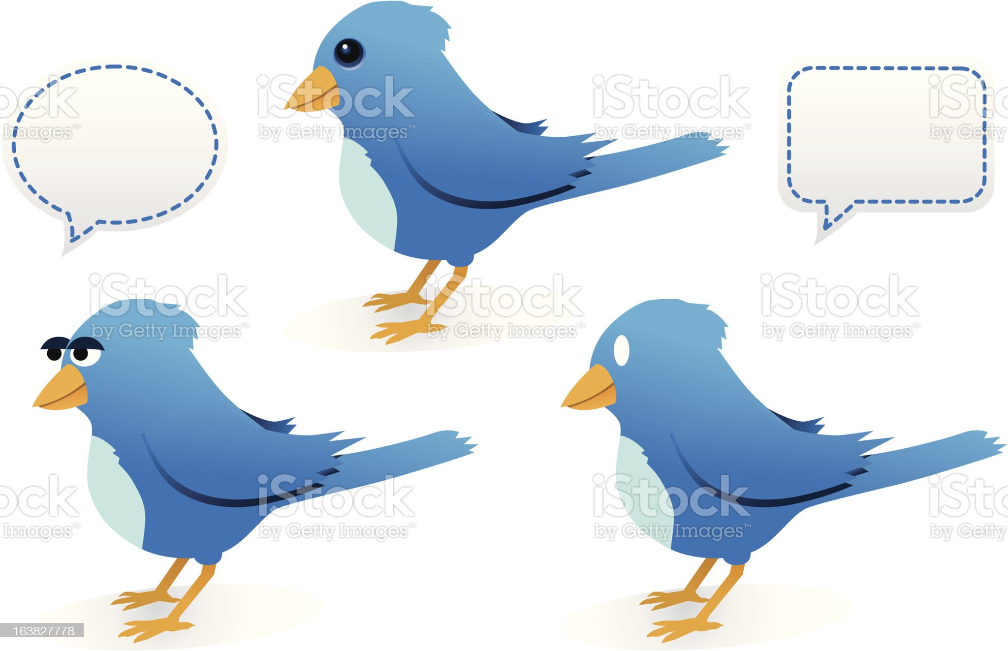 Blue Birds and Speech Bubbles royalty-free stock vector art