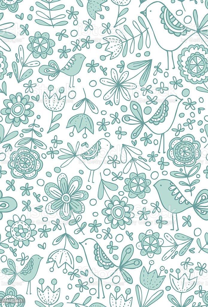 Blue Birds Seamless Pattern royalty-free stock vector art