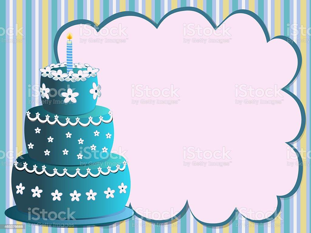 blue birthday cake vector art illustration