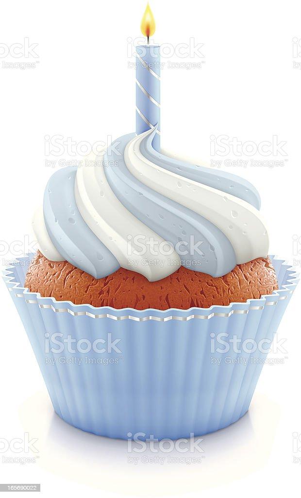Blue birthday cupcake vector art illustration