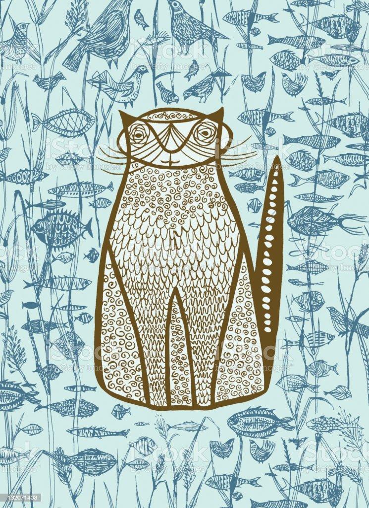 Blue Cat; Fish; Birds vector art illustration