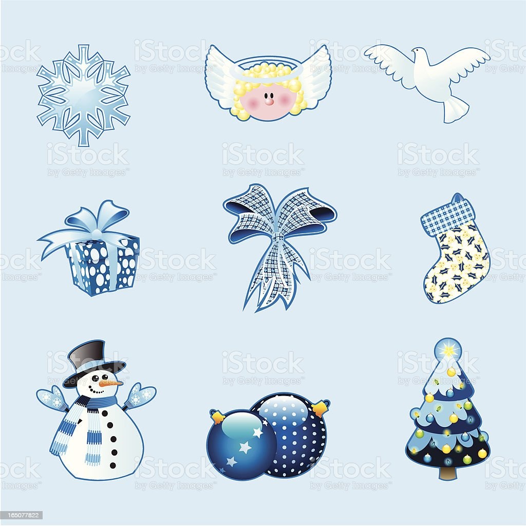 Blue Christmas icons royalty-free stock vector art