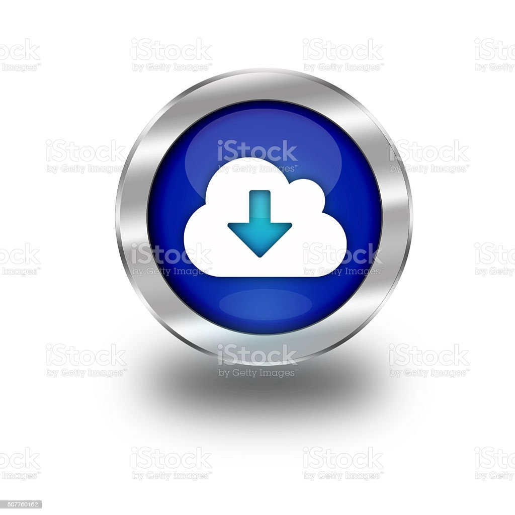 Blue Cloud Download Web Button vector art illustration
