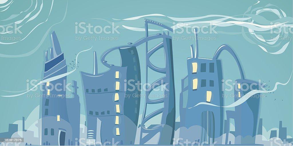 Bleu nuageux ville stock vecteur libres de droits libre de droits
