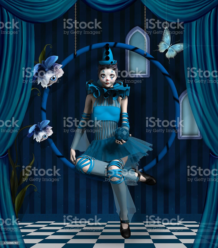 Blue clown in a surreal scenery vector art illustration
