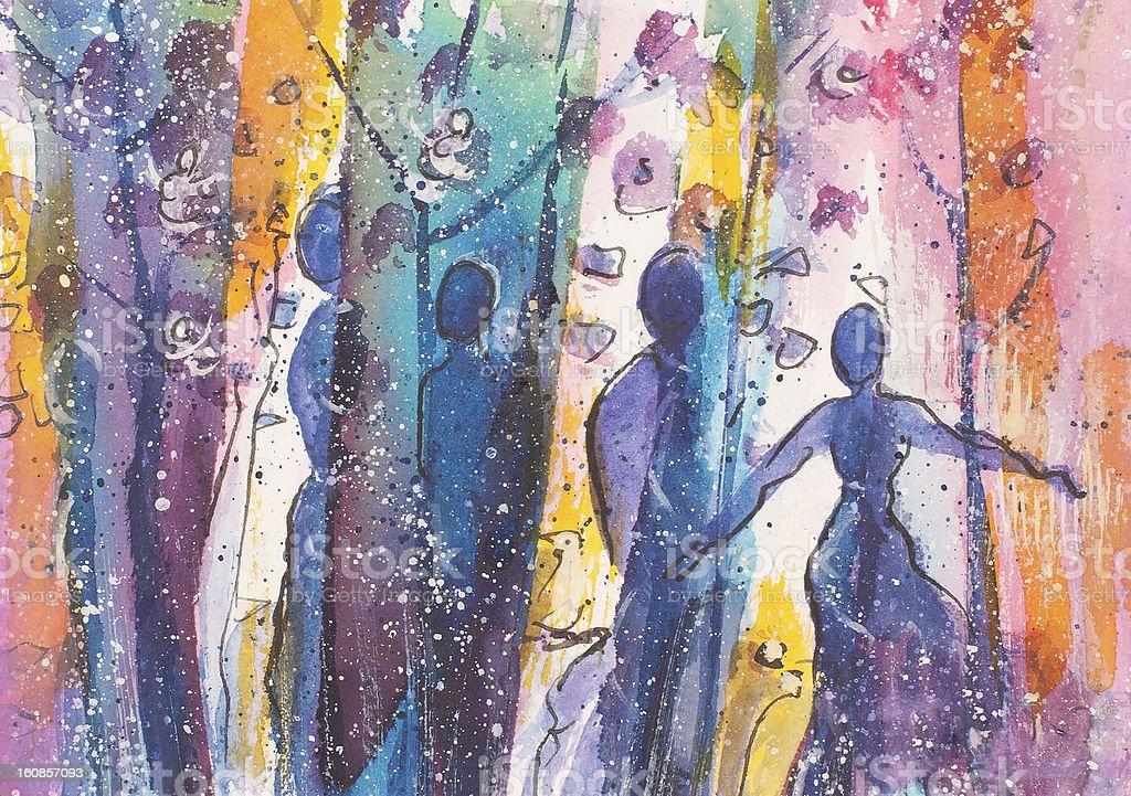 Las parejas azul illustracion libre de derechos libre de derechos