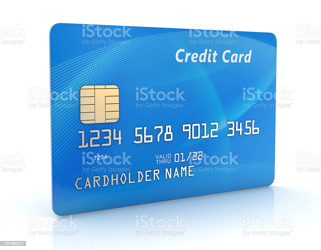 Blue Credit Card vector art illustration