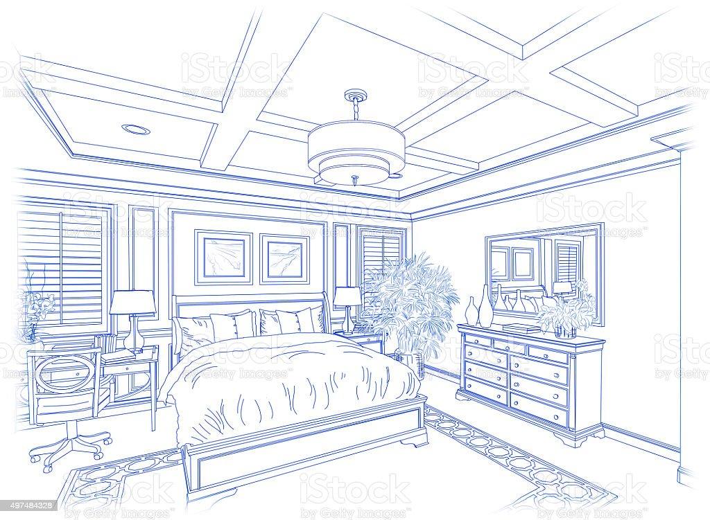 Blue Custom Bedroom Design Drawing on White vector art illustration