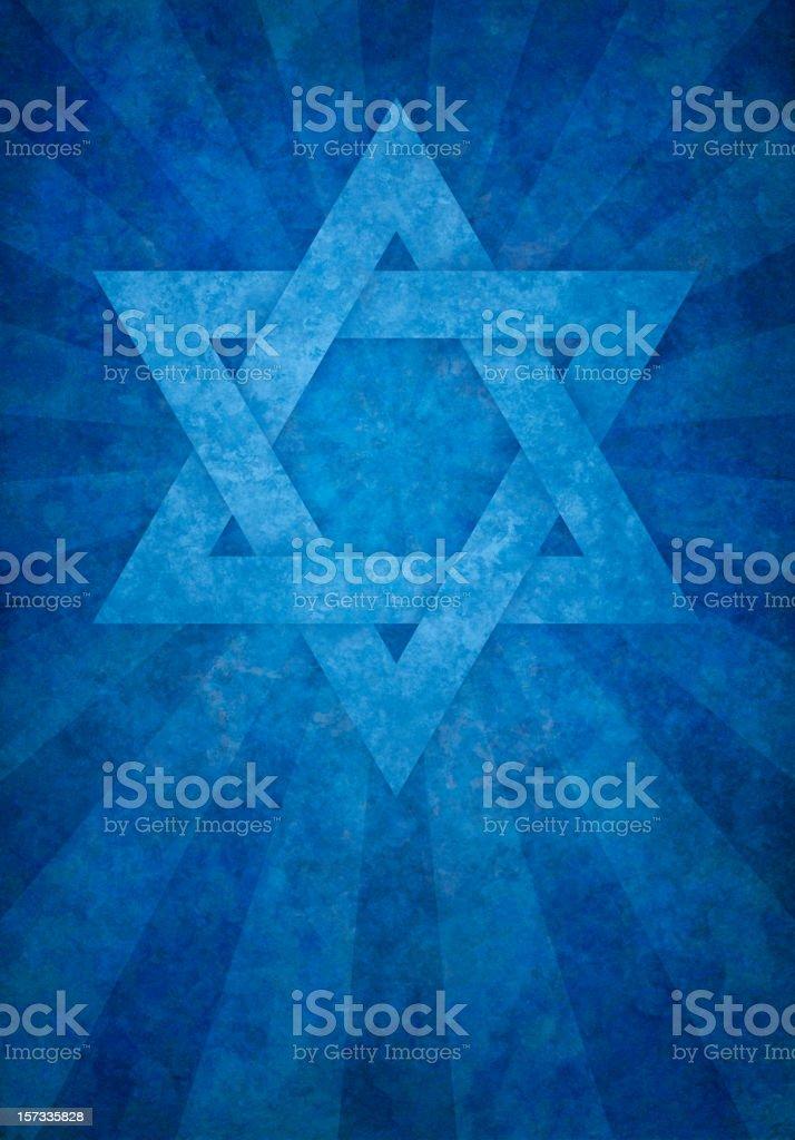 blue david's star on grunge background vector art illustration