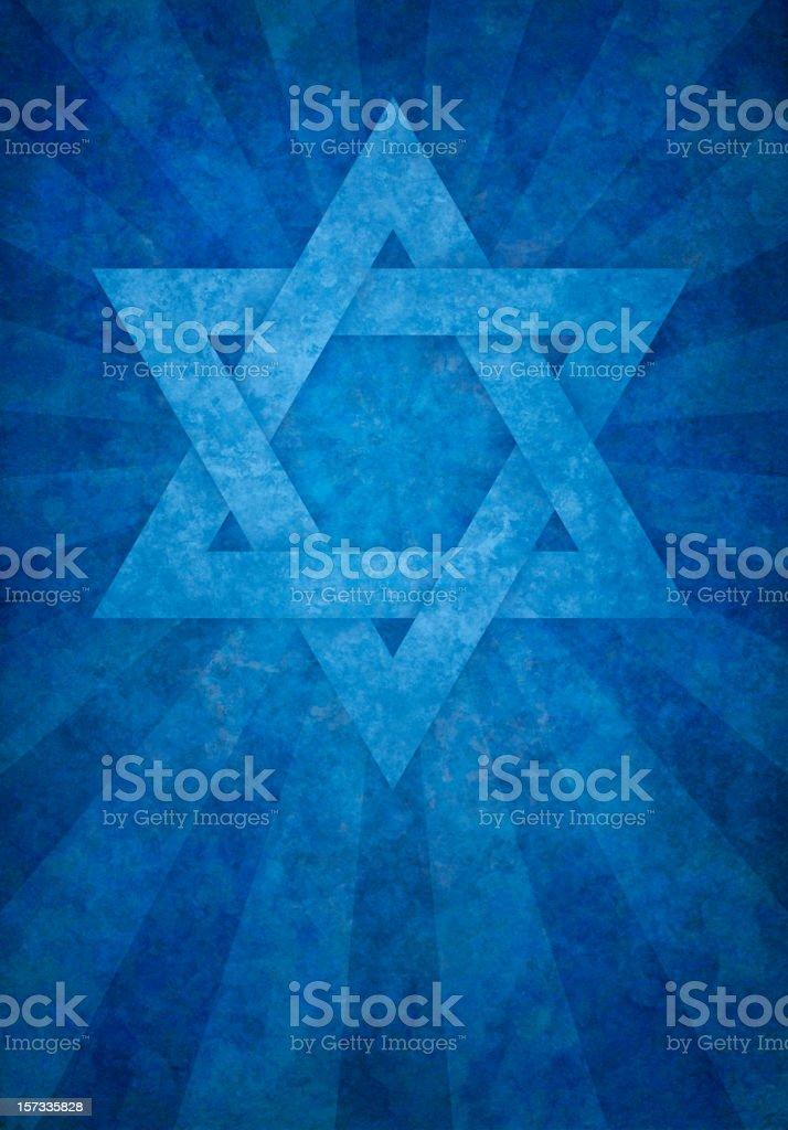 blue david's star on grunge background vector art illustration