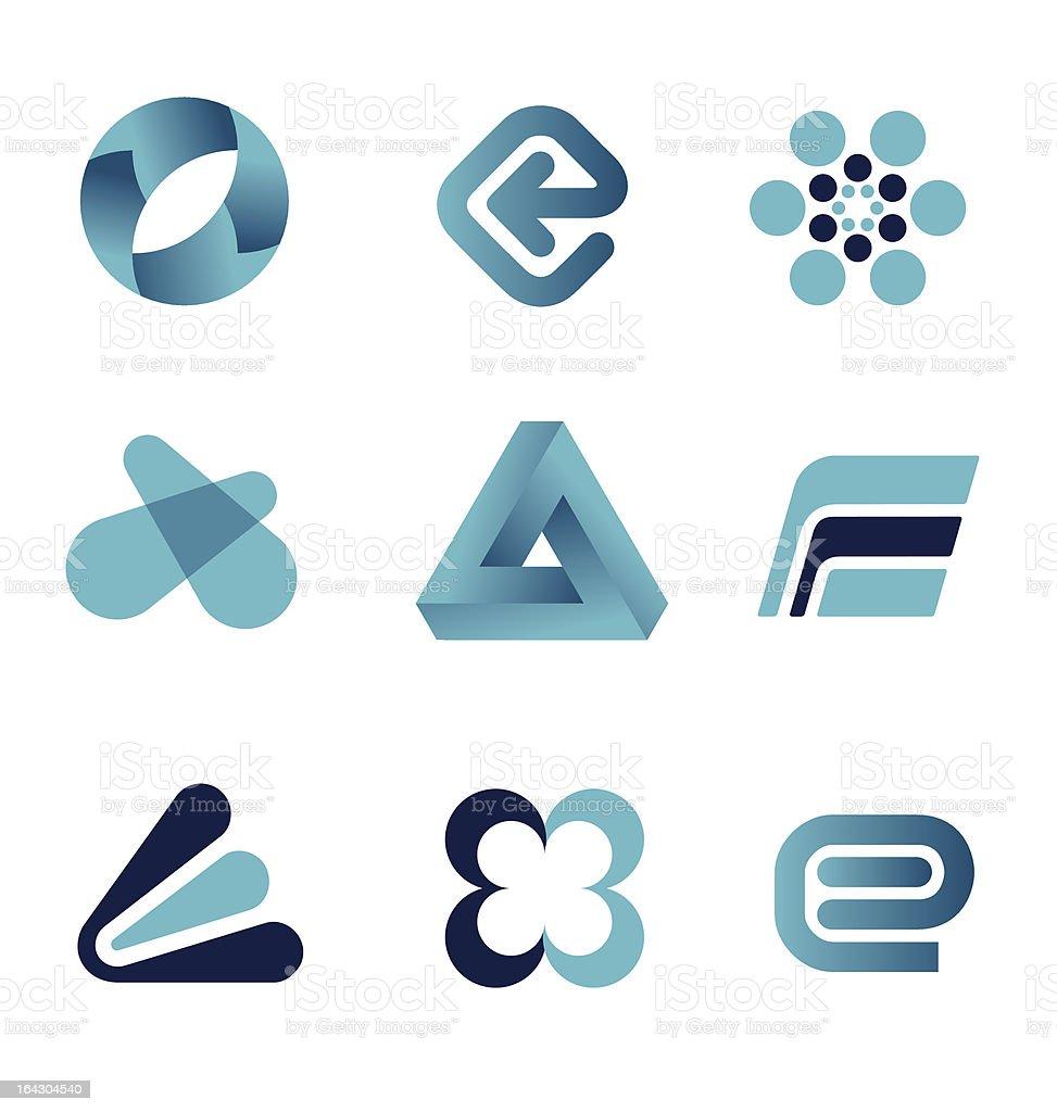 Blue Design Elements vector art illustration