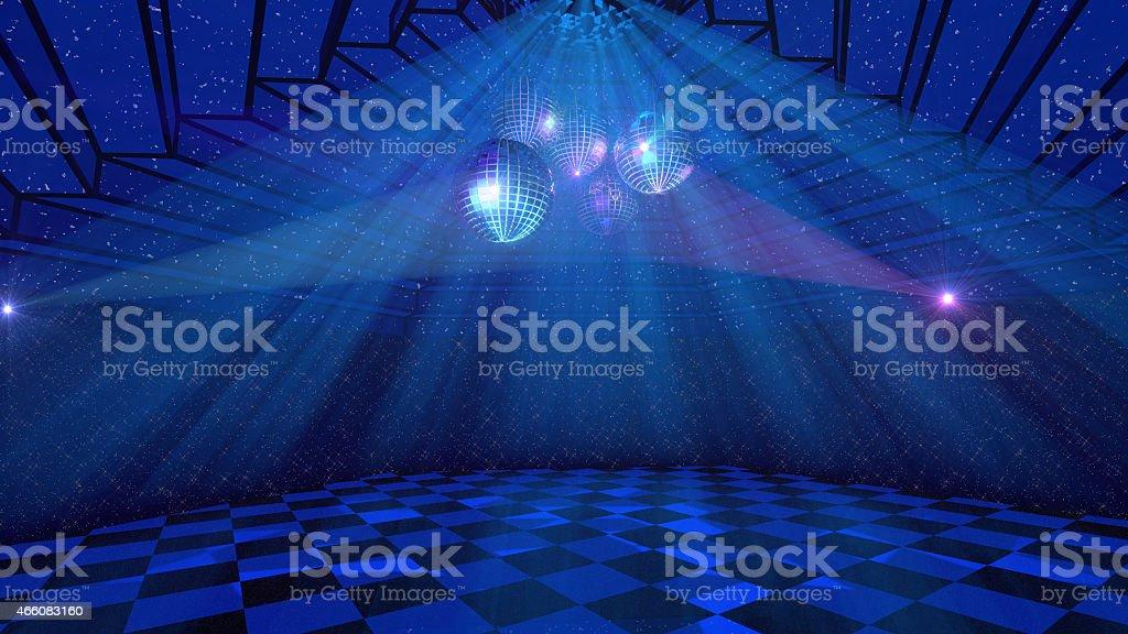 Blue disco background vector art illustration