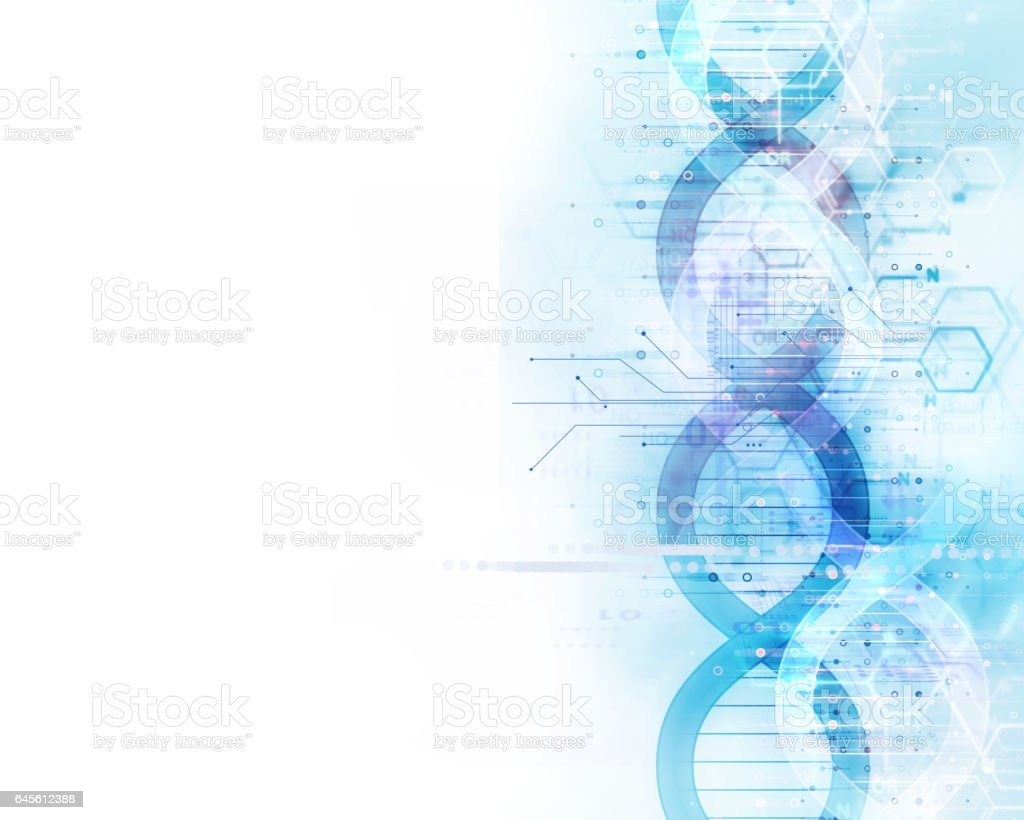 blue dna molecules  abstract technology background vector art illustration