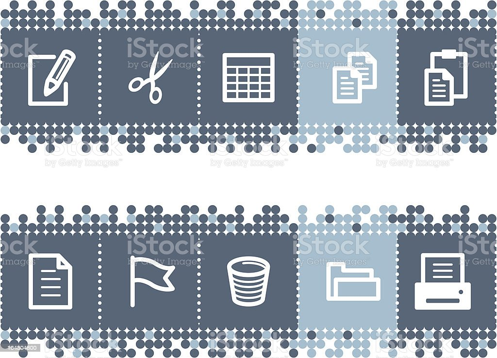 blue dots bar with document icons royalty-free stock vector art