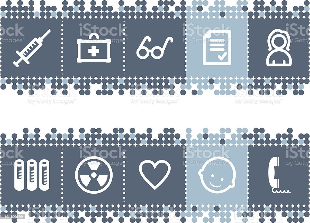 Blue dots bar with medicine icons, set 2 royalty-free stock vector art