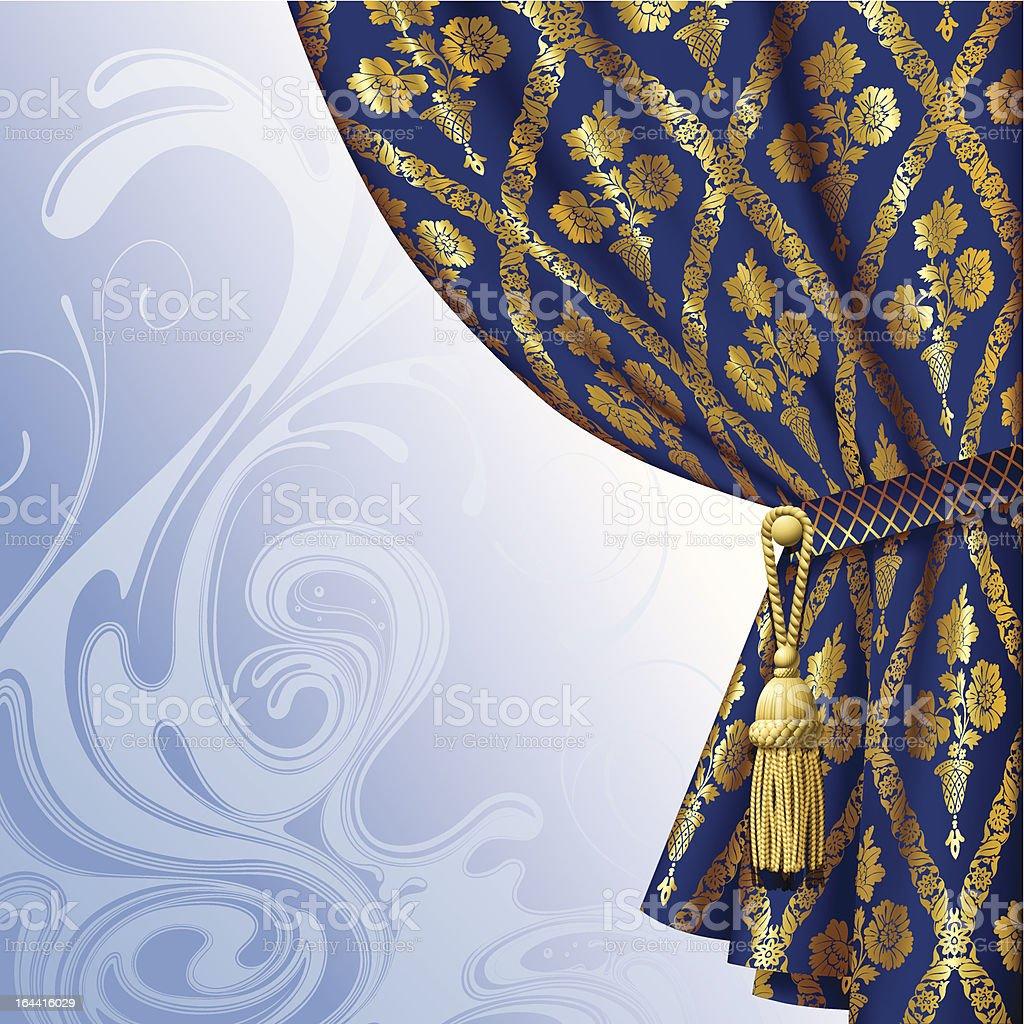 Blue drape vector art illustration