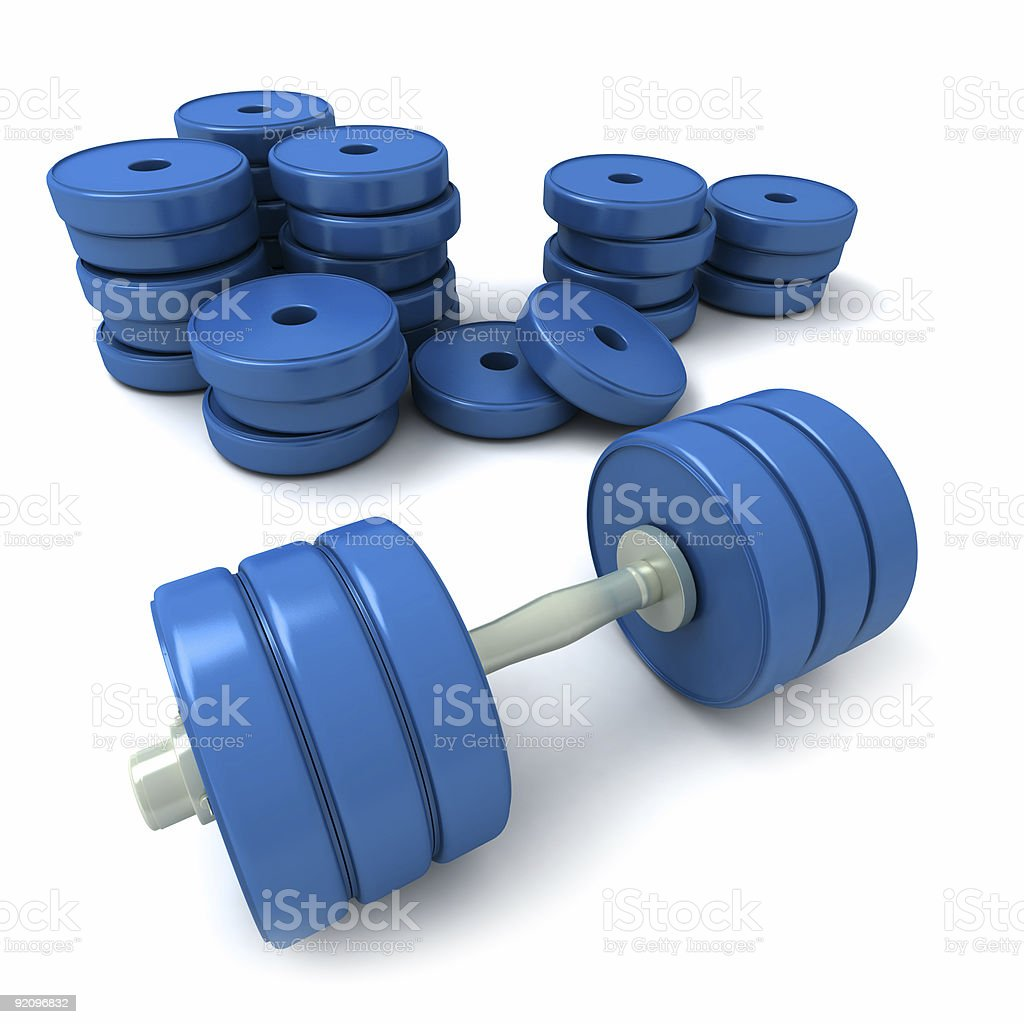 Blue dumbbells and heap of weights vector art illustration
