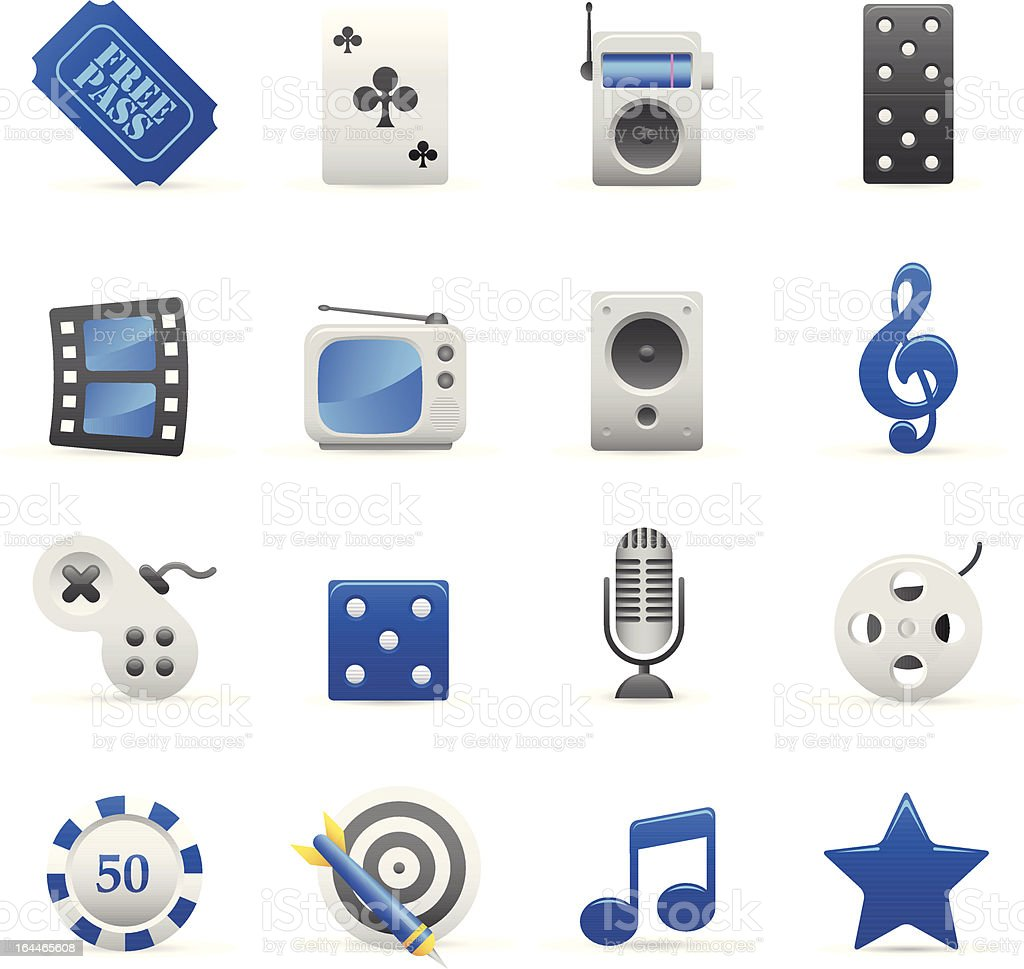 Niebieskie ikony I rozrywki stockowa ilustracja wektorowa royalty-free