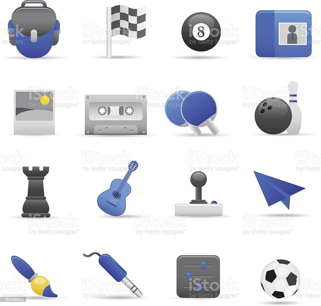 Niebieski Zabawa ikony II stockowa ilustracja wektorowa royalty-free