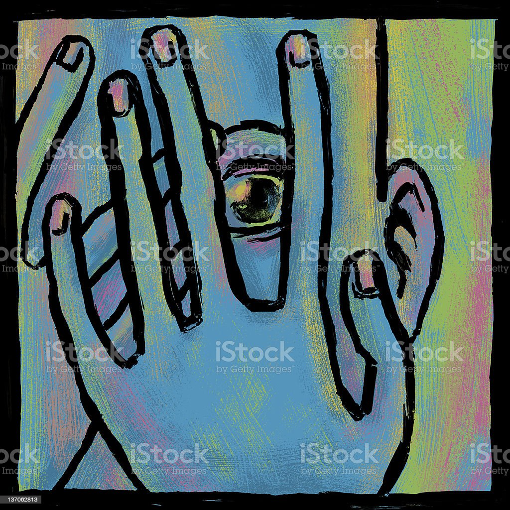 Blue fear vector art illustration