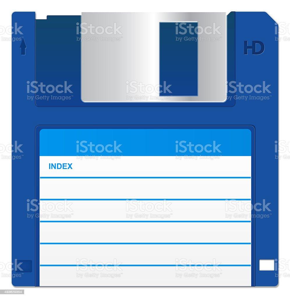 Blue Floppy Disk vector art illustration