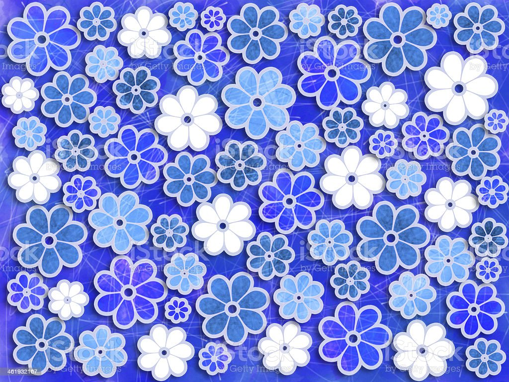 Blue Flower Art Pattern vector art illustration